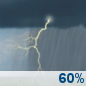 Tuesday: Showers and thunderstorms likely.  Cloudy, with a high near 79. South southeast wind 10 to 15 mph, with gusts as high as 20 mph.  Chance of precipitation is 60%.